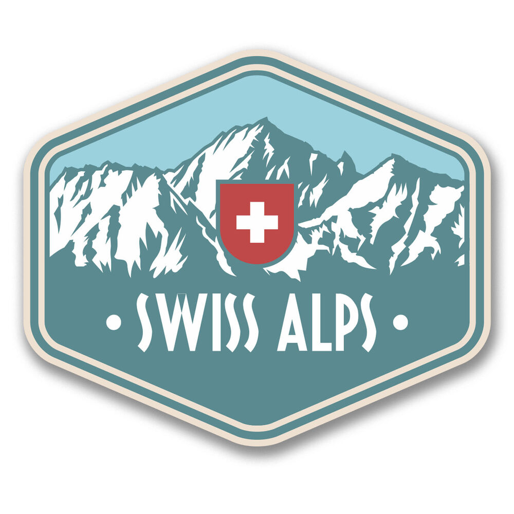 2 x 10cm Swiss Alps Switzerland Vinyl Sticker Travel ...