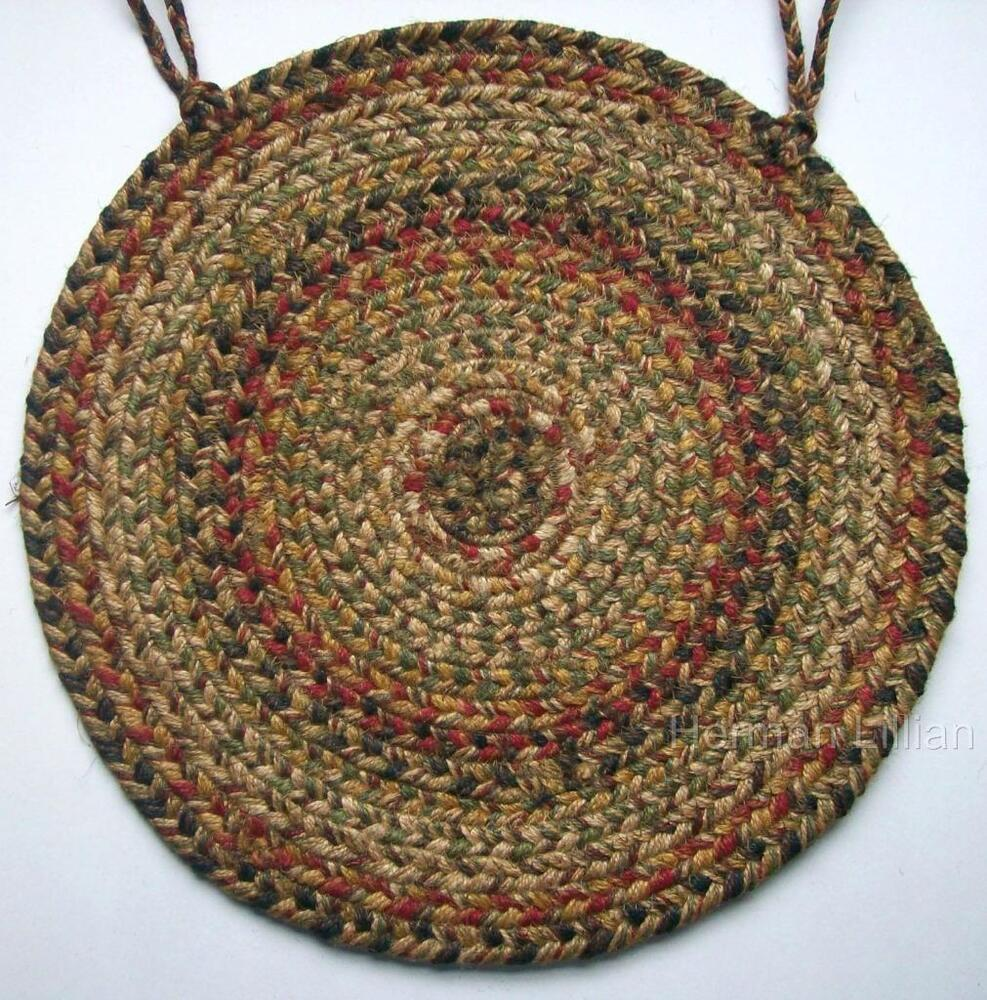 """Homespice Decor KINGSTON Braided Jute 15"""" Chair Pad With"""