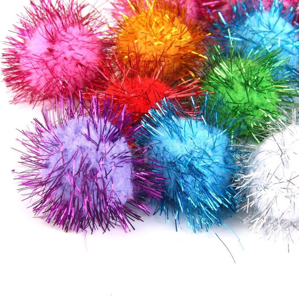 21 bright assorted colors tinsel metallic pom poms arts for Tinsel craft pom poms