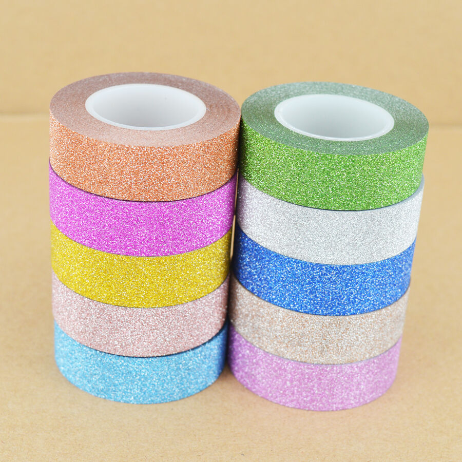 10m diy self adhesive glitter washi masking tape sticker for Crafts with washi tape
