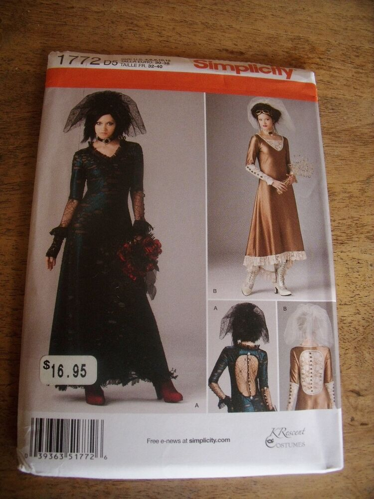patron simplicity costume robe gothic annee folle taille 32 34 36 38 40 ebay. Black Bedroom Furniture Sets. Home Design Ideas