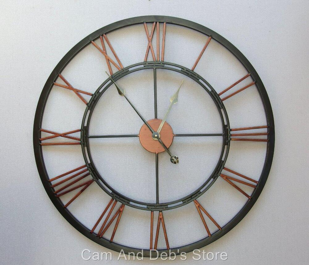 large black copper colour iron metal wall clock french