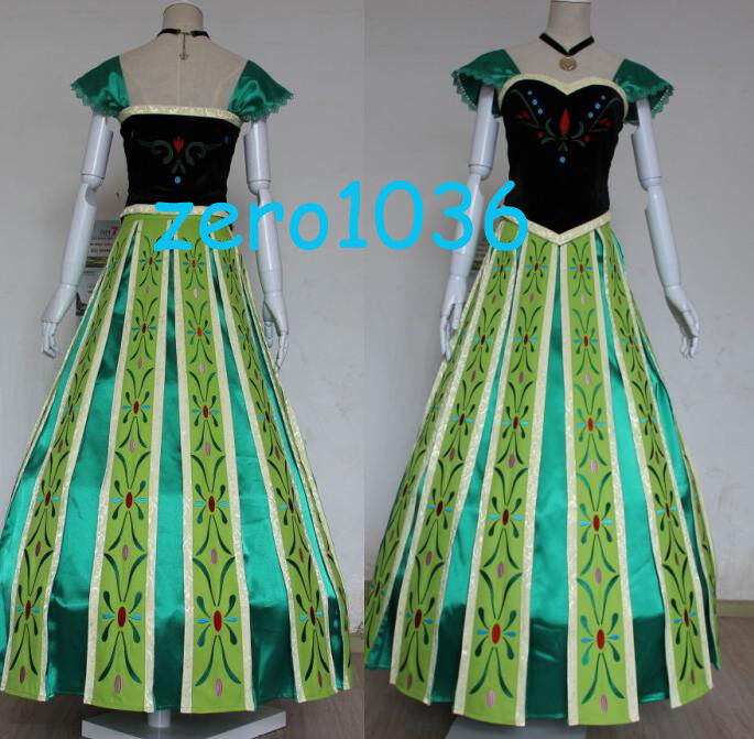 Frozen Anna Coronation TOP Embroidery Women Cosplay
