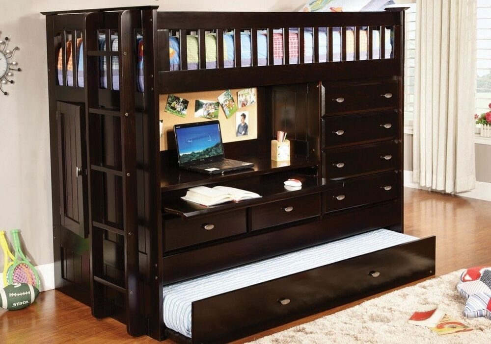 Kid S Or Teen Twin Loft Bunk Bed With Storage Desk