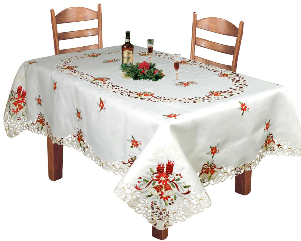 Holiday Christmas Embroidered Poinsettia Bell Tablecloth