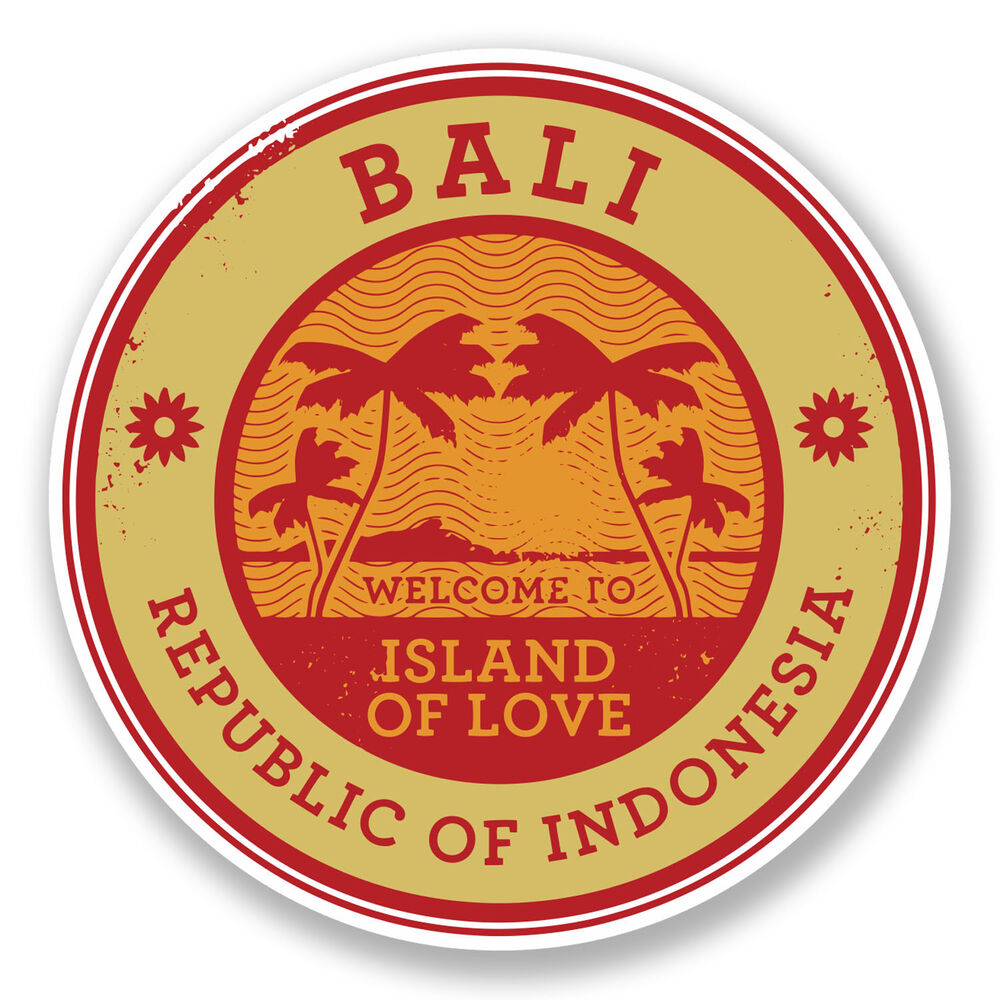 Details about 2 x 10cm bali indonesia vinyl sticker decal laptop luggage travel tag gift 6490