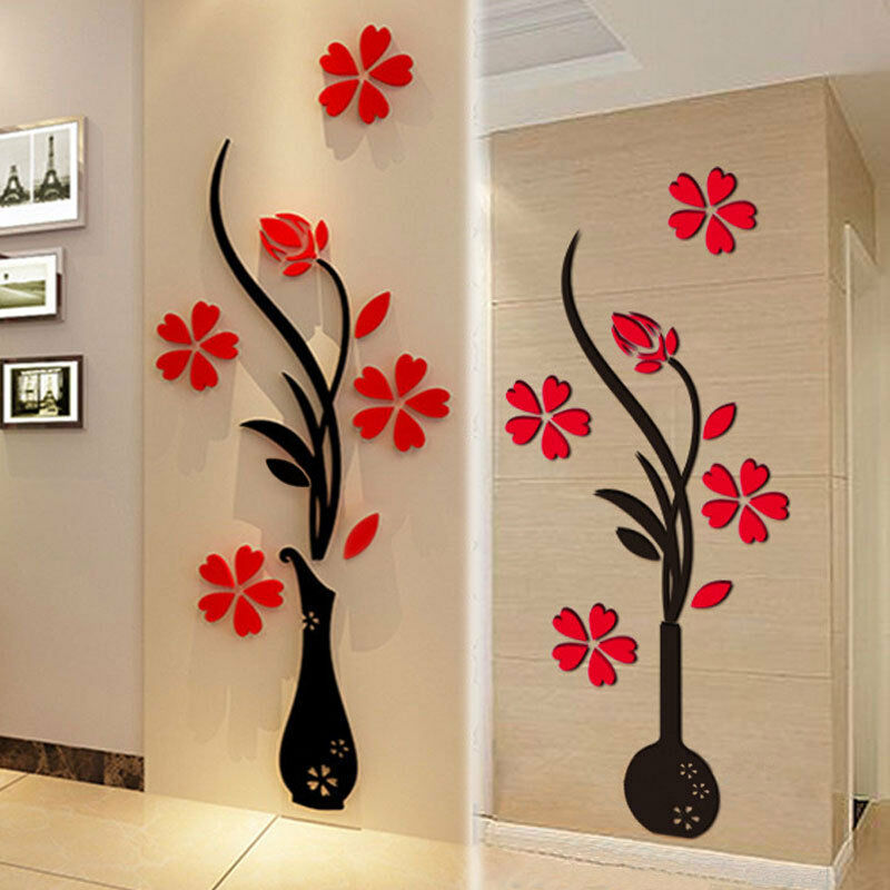 3d vase flower diy mirror wall decals stickers art home for Decor mural wall art