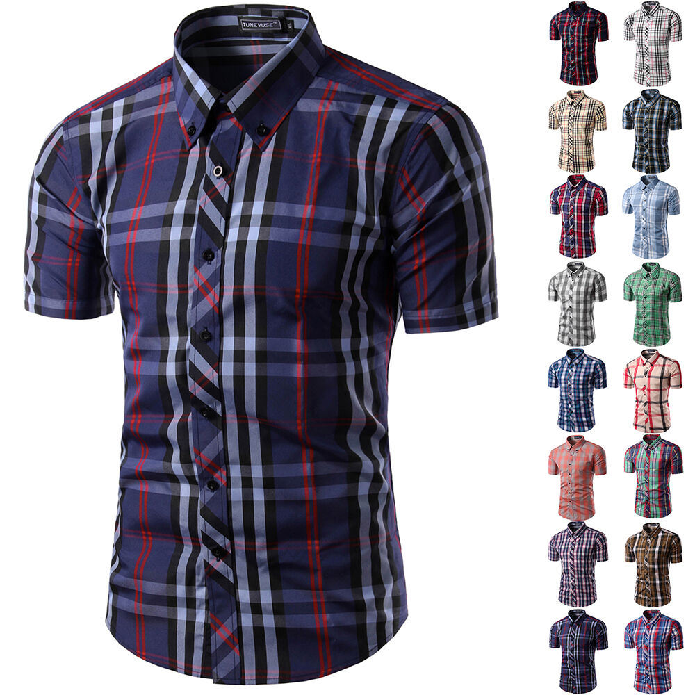 Mens new casual dress shirt mens fashion plaid short for Men s fashion short sleeve shirts