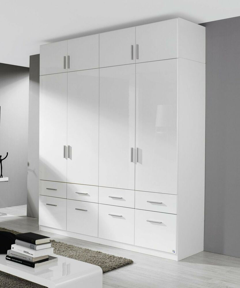 kleiderschrank 4 trg schubk sten aufsatz schrank weiss hochglanz neu ebay. Black Bedroom Furniture Sets. Home Design Ideas