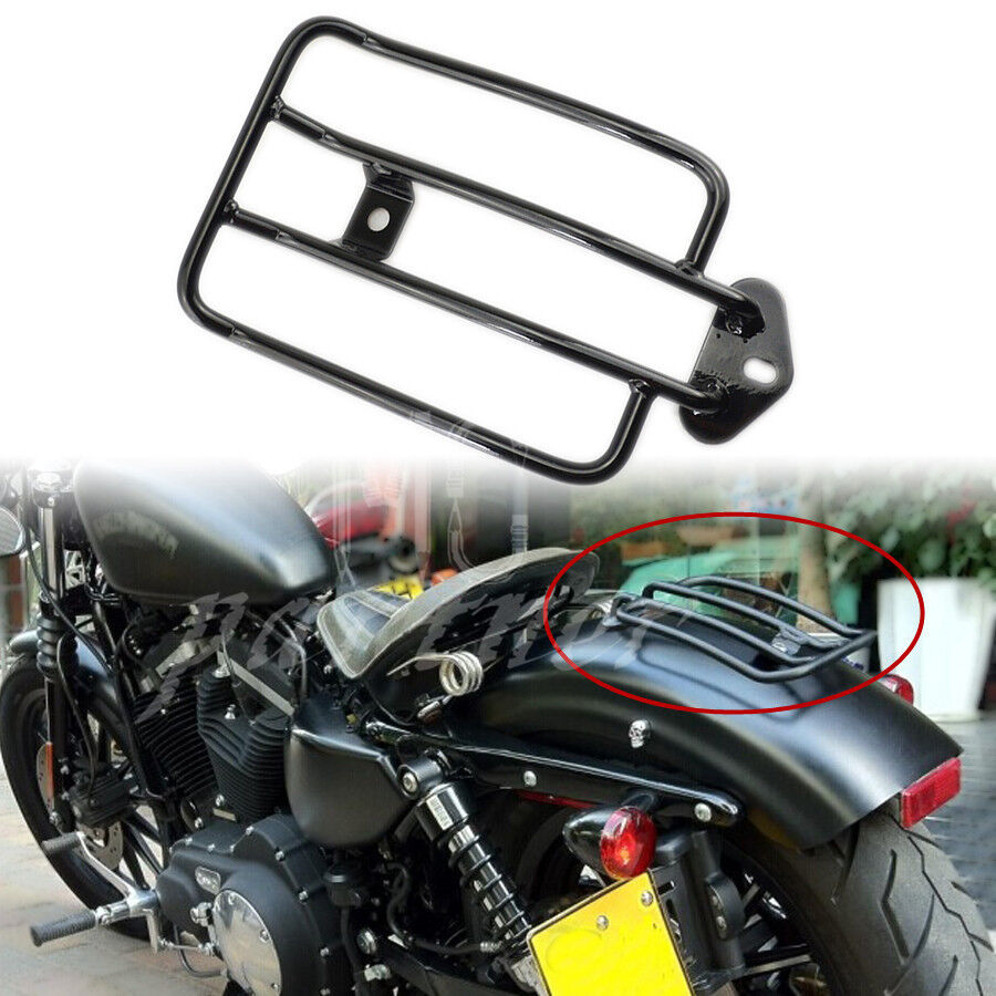 Black Luggage Carrier Rack Solo Seat For Harley Sportster