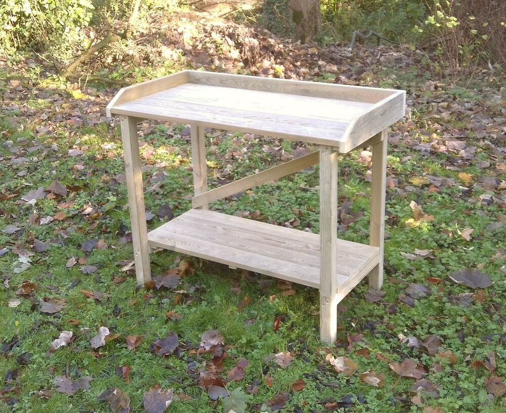 Wooden Greenhouse Garden Potting Table Staging Bench With Trim 1m Long Ebay