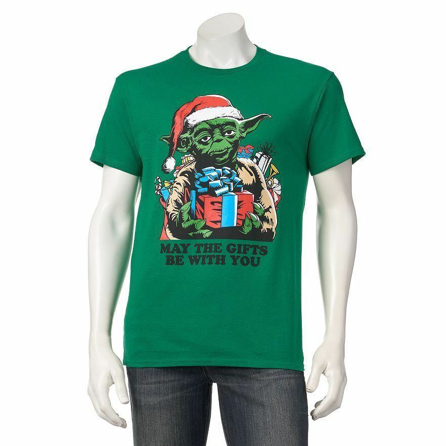 star wars christmas tee yoda the gift t shirt ugly sweater the force awakens ebay. Black Bedroom Furniture Sets. Home Design Ideas