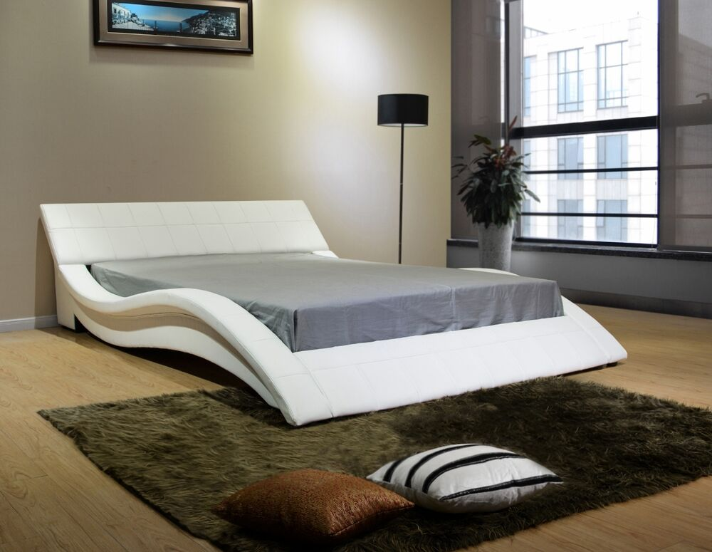 wave platform bed greatime b1041 1 eastern king white wave like shape 13794