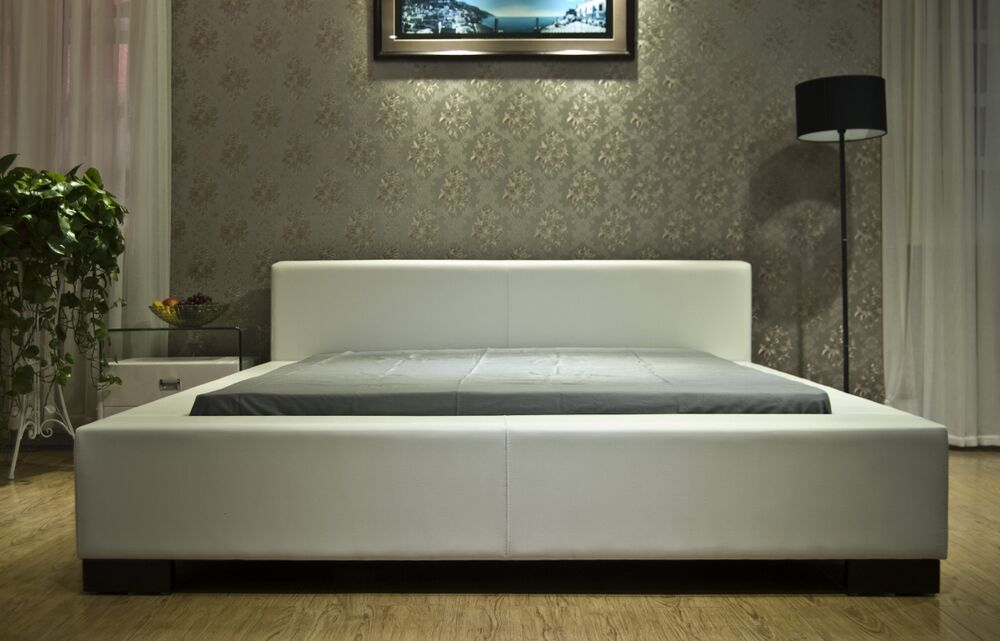 Greatime b1142 queen white vinyl contemporary platform bed ebay - Benefits of contemporary queen bed ...