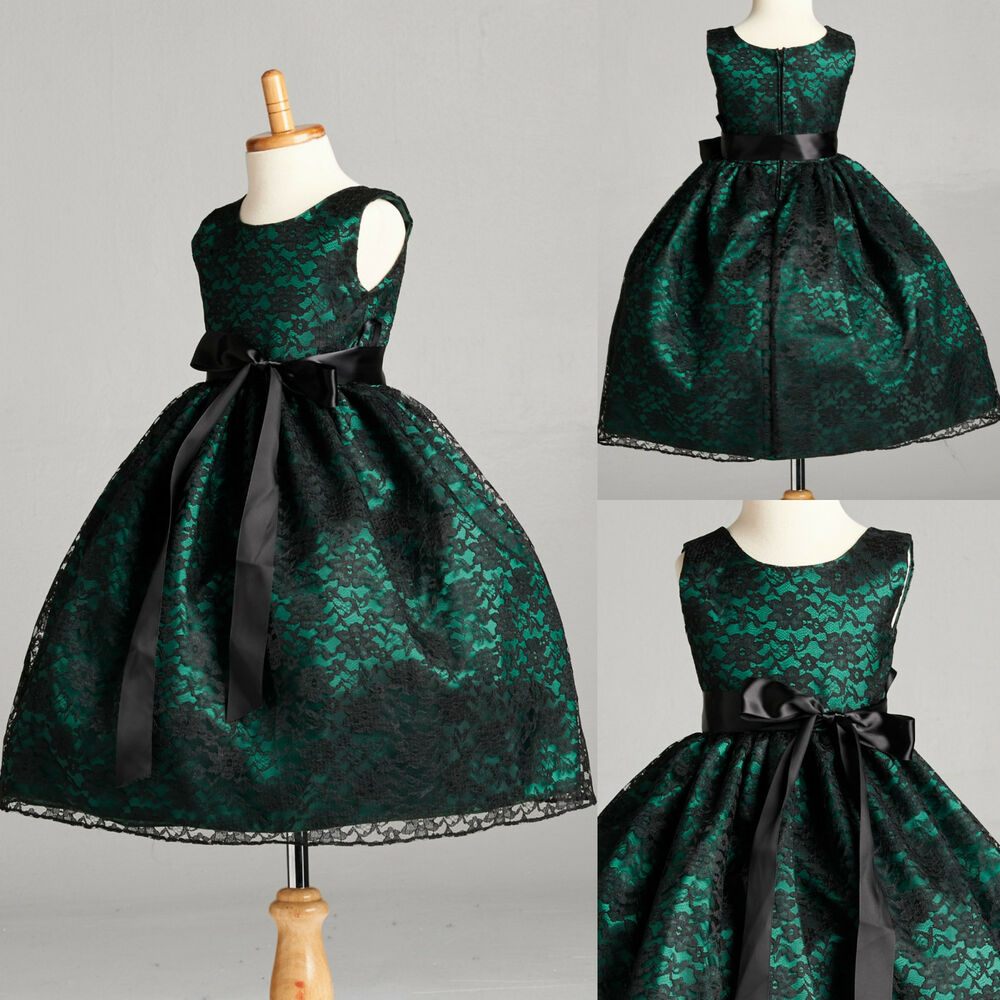 Flower Girl Dress Black Lace Hunter Green Holiday
