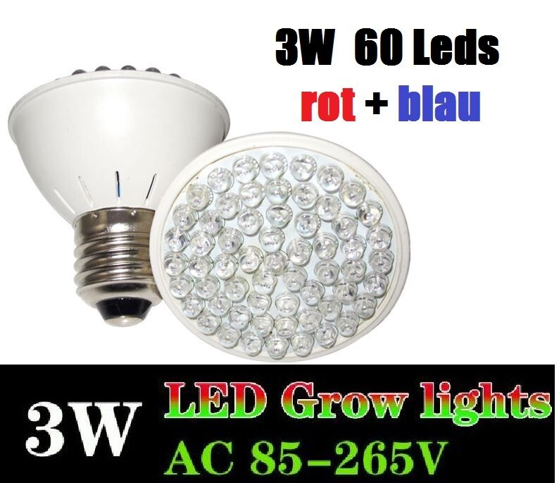 3 watt 60 led grow plant light pflanzen lampe e27 full spectrum growlight bl te ebay. Black Bedroom Furniture Sets. Home Design Ideas