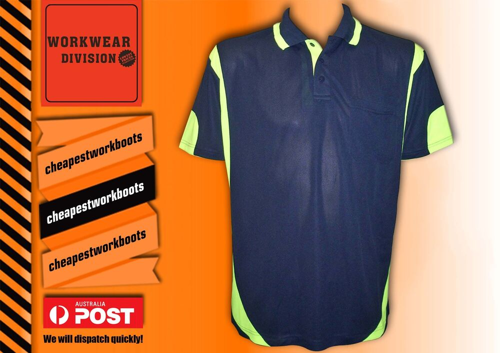 5 x hi vis polo shirt safety workwear cool breathable for Hi vis safety shirts