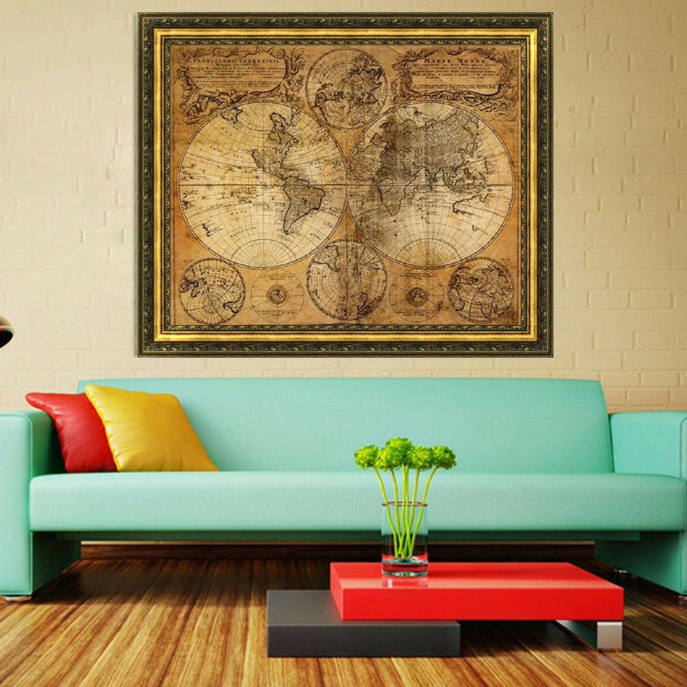 Vintage style retro cloth poster globe old world nautical for Decoration retro