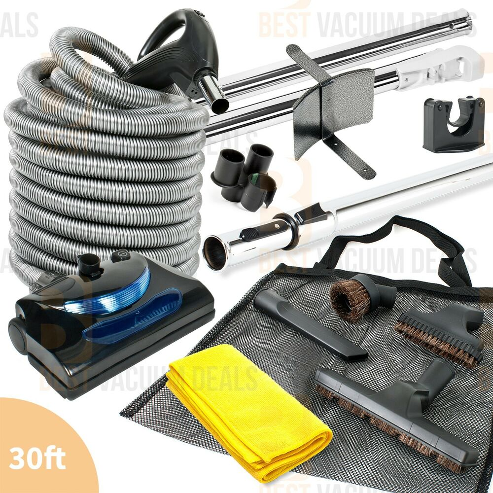 Central Vacuum Electric Powerhead 30 Foot Hose Cleaning