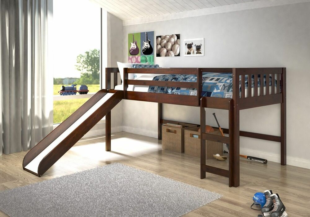 Kid S Twin Low Loft Or Bunk Bed With Slide White Or Dark