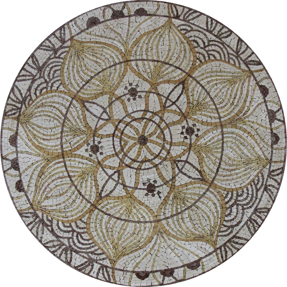 Round Medallion Abstarct Design Art Tile Stone Decor