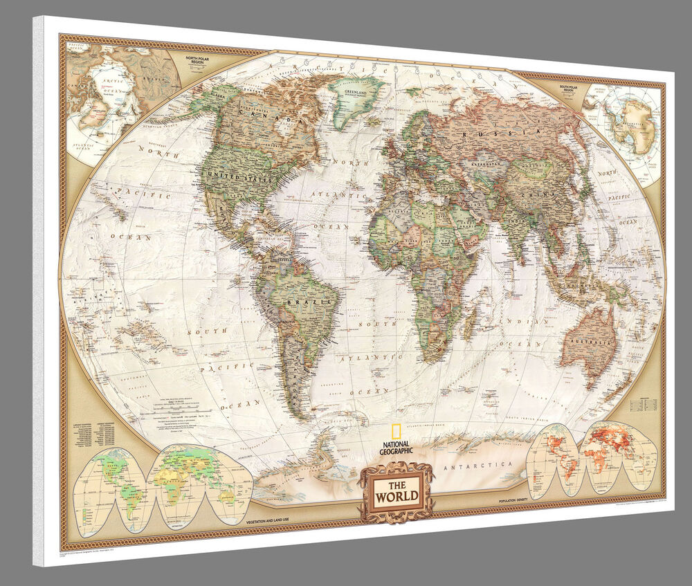 Mounted World Map National Geographic Executive 46 Quot X 30