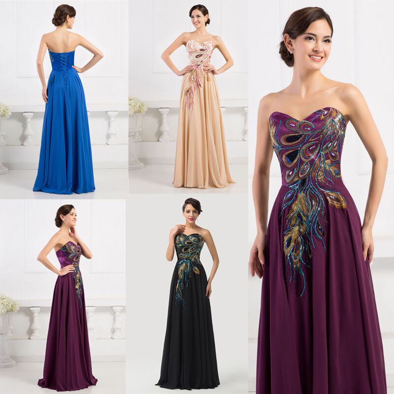 Peacock masquerade elegant women formal long bridesmaid for Sell your wedding dress online for free
