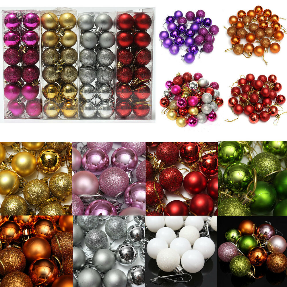 24pcs Glitter Christmas Balls Baubles Xmas Tree Hanging