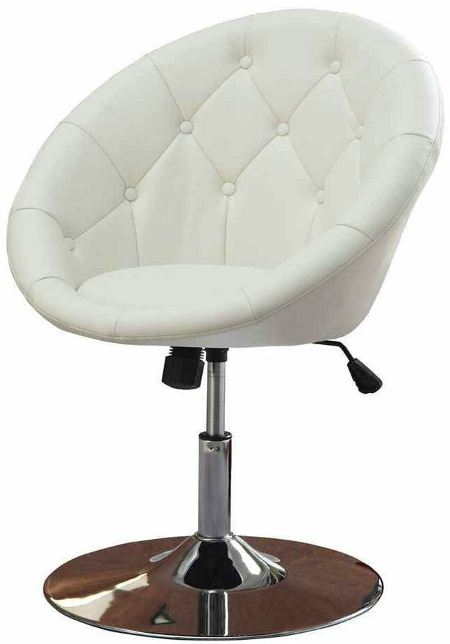 Round back swivel chair modern vintage lounge leather vinyl stool padded vanity ebay - Swivel vanity stool with back ...
