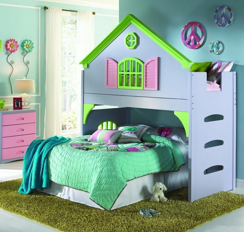 Girl's Twin Doll House Loft Or Bunk Bed