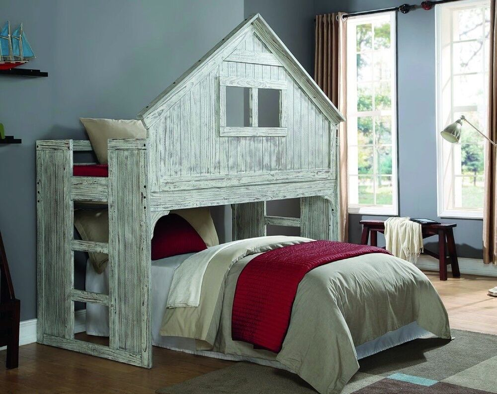 kids twin club house loft or bunk bed add full bed or storage space underneath ebay. Black Bedroom Furniture Sets. Home Design Ideas