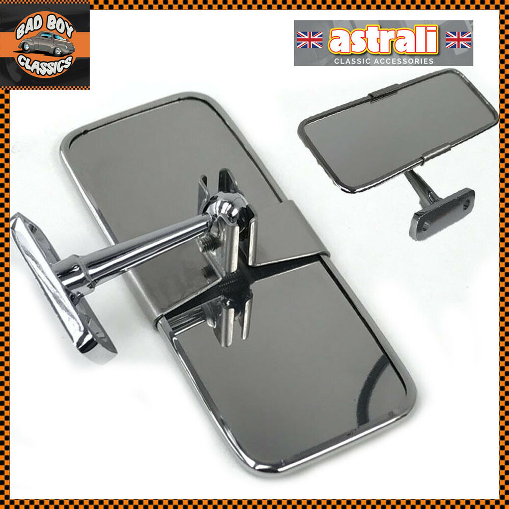stainless steel universal rear view mirror interior classic car ebay. Black Bedroom Furniture Sets. Home Design Ideas