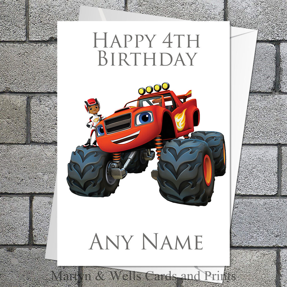 Blaze and the Monster Machines birthday card. Personalised, plus ...