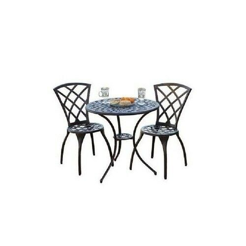 bistro set outdoor garden patio furniture cast aluminum 3 piece table chair ebay. Black Bedroom Furniture Sets. Home Design Ideas