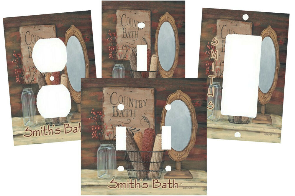 Personalized Primitive Country Bath Light Switch Plate