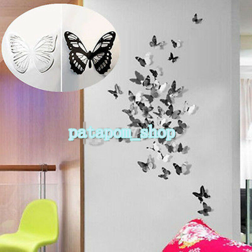 3d 18pcs diy home decoration butterfly sticker art decal for 3d wall decoration stickers