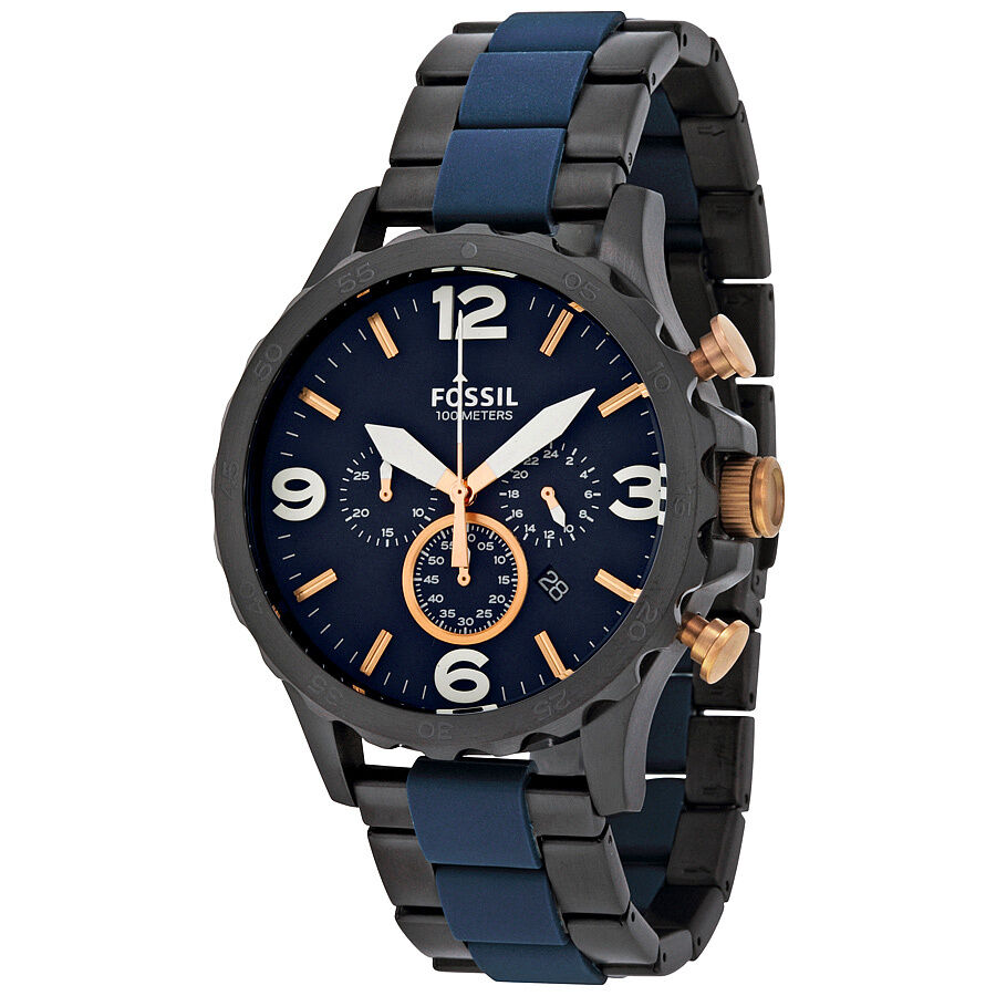 Fossil Nate Chronograph Blue Dial Mens Watch JR1494 ...