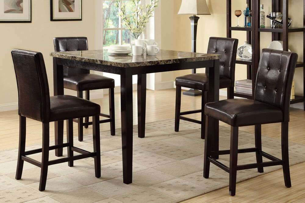 5pc dining set counter height table high chair espresso for High chair dining table set