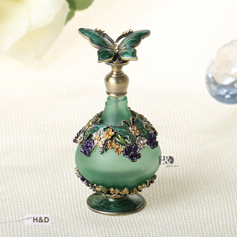 Diamond cut antique vintage perfume bottle with glass for Antique decoration
