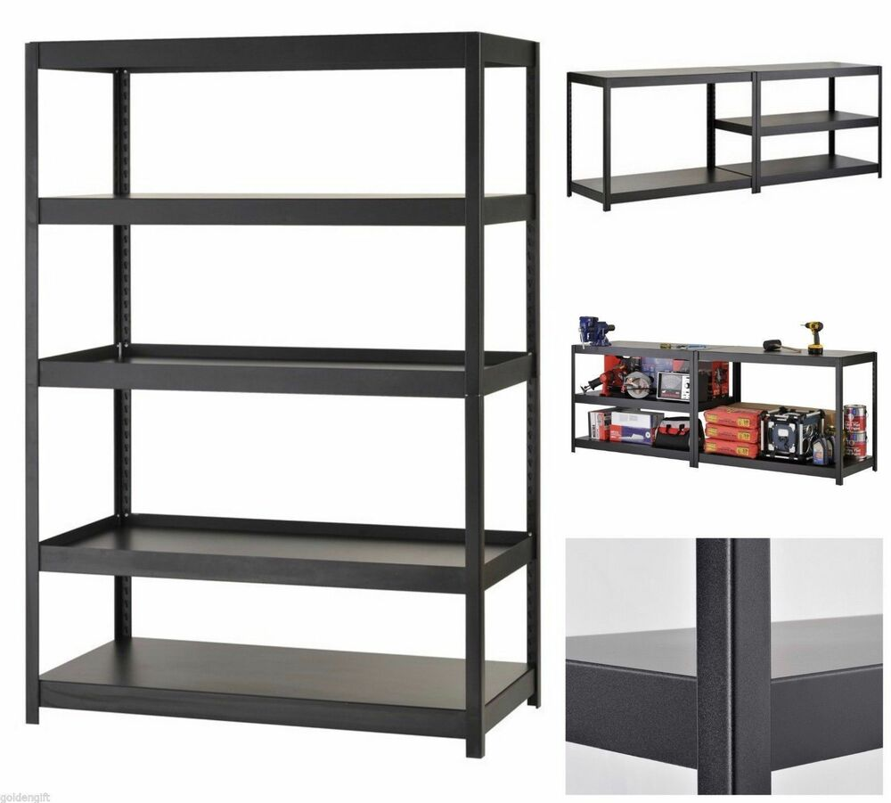 Garage Organization Shelving: Heavy Duty Shelf Adjustable Black Metal Steel Garage