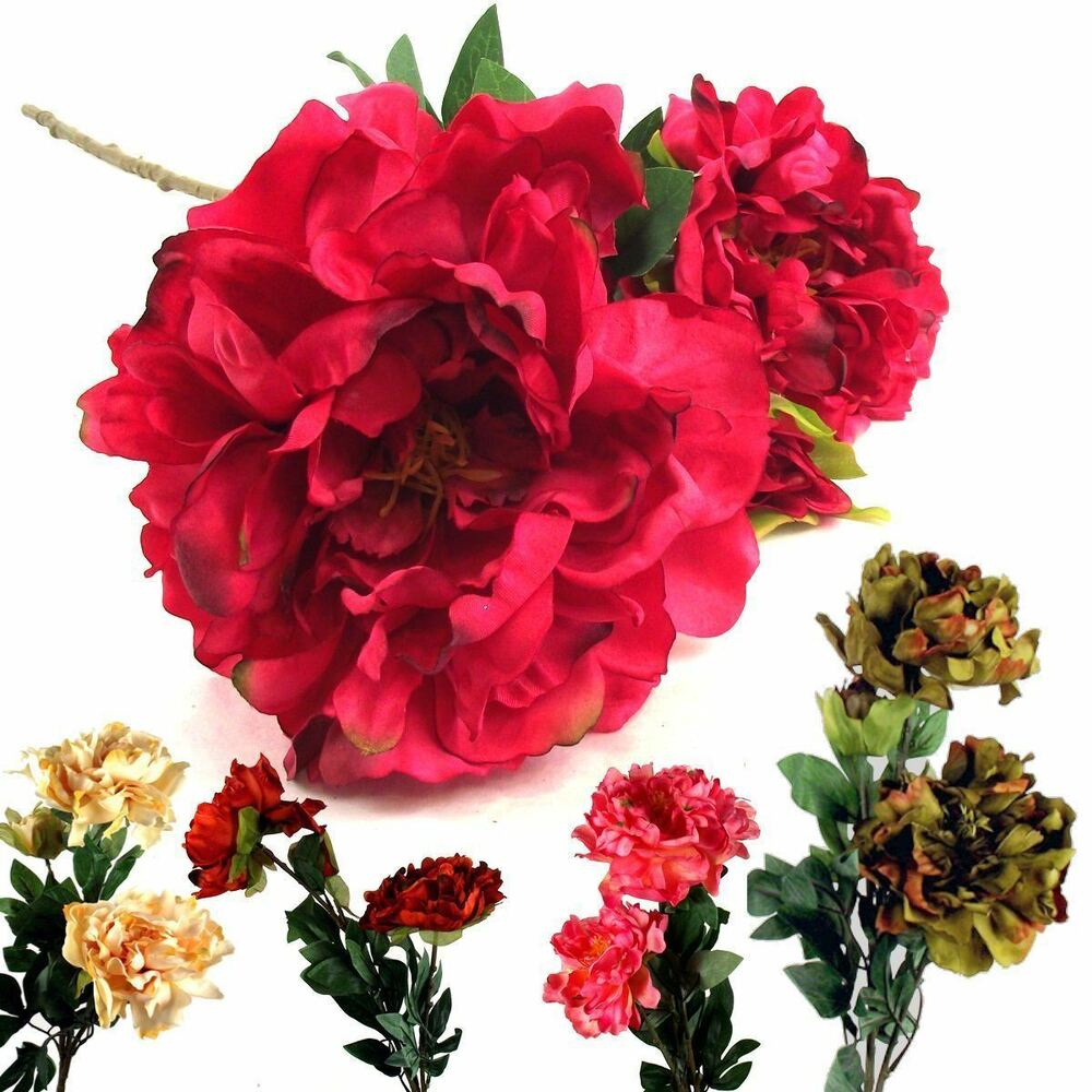 Large open peony spray artificial flowers fake silk stem for Fake flowers for crafts