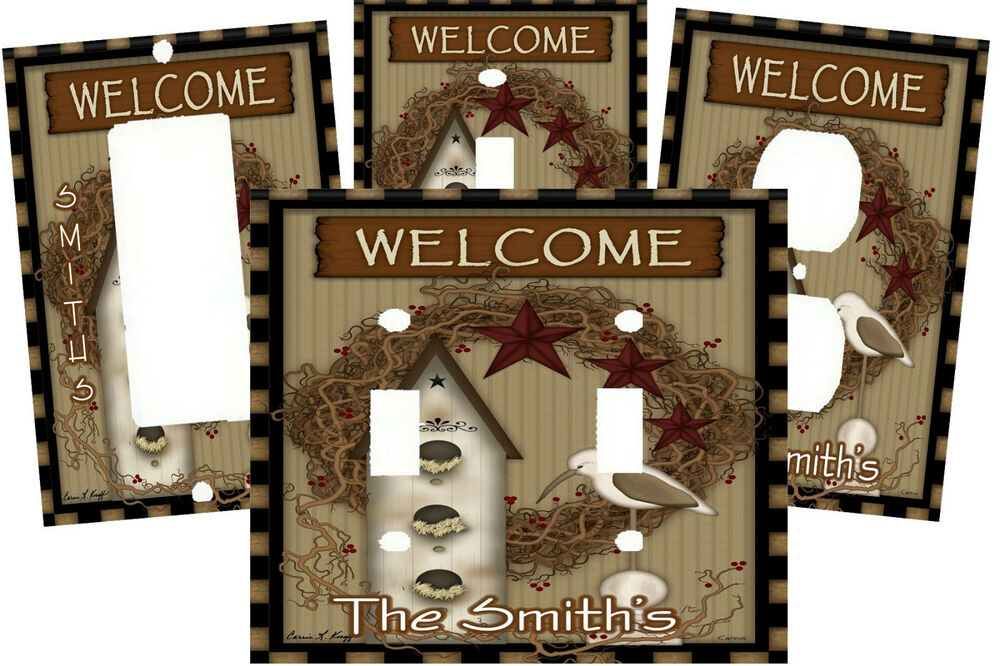 personalized welcome country primitive bird house switch