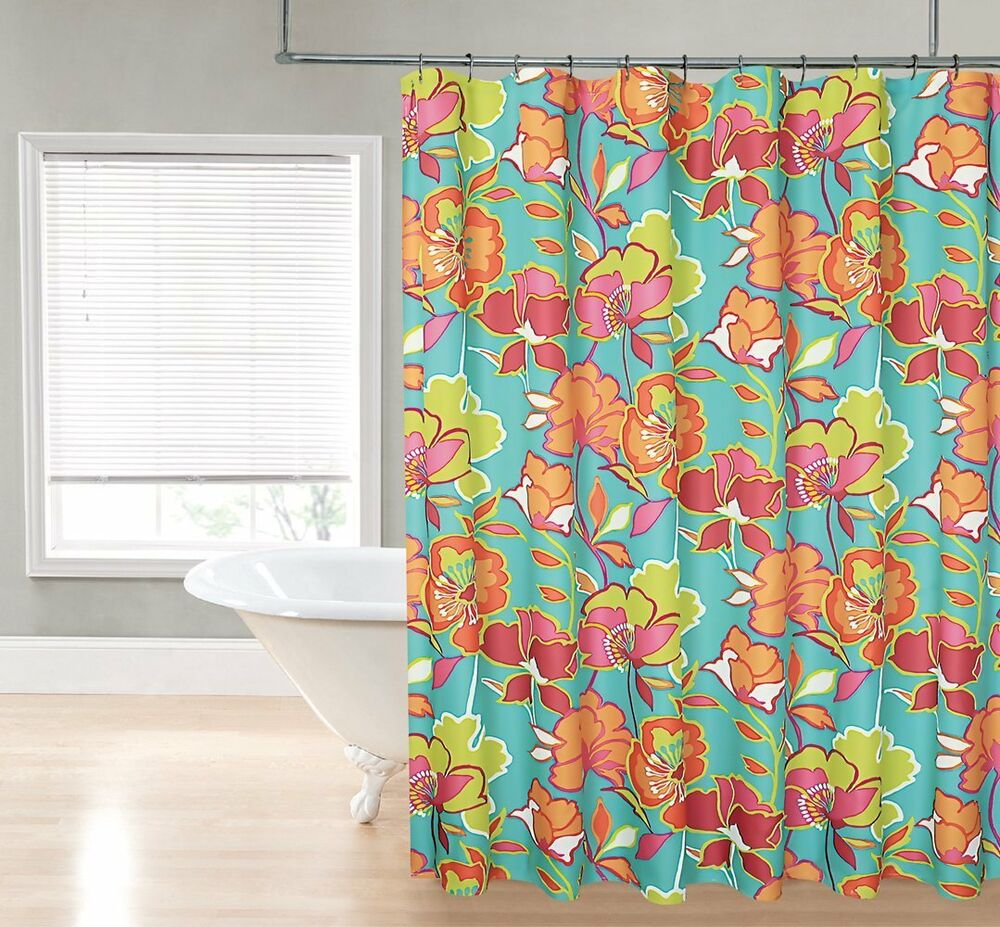 Bold Floral Teal Lime Green Pink Orange Fabric Shower Curtain By Regal Ebay
