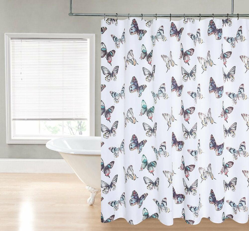 Mariposa White Aqua Blue Orange Red Butterfly Fabric Shower Curtain Ebay