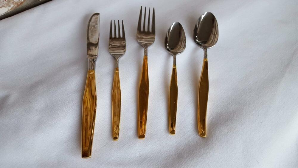 Gold Plated Handle Stainless Steel Silverware Flatware