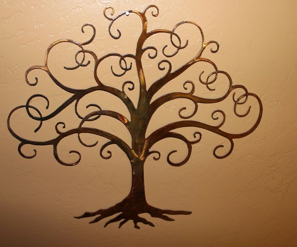 Swirled tree of life 30 tall metal wall art decor by hgmw for Tree wall art