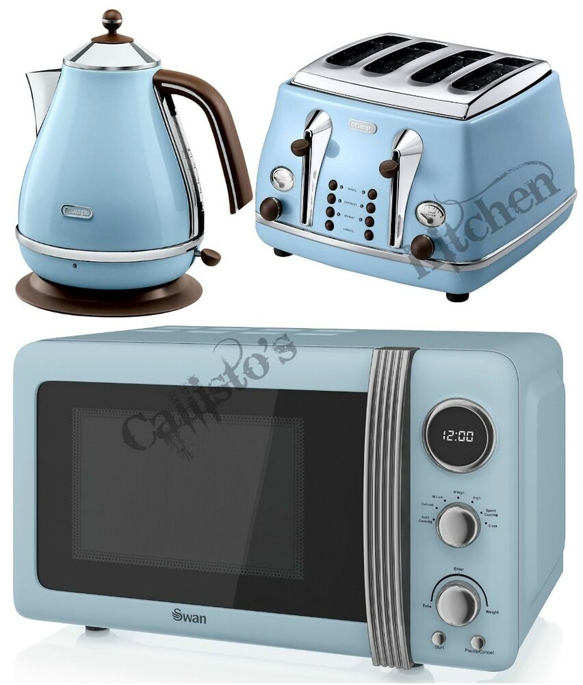 Microwave And Toaster In 1 ~ Blue microwave kettle and toaster set delonghi icona