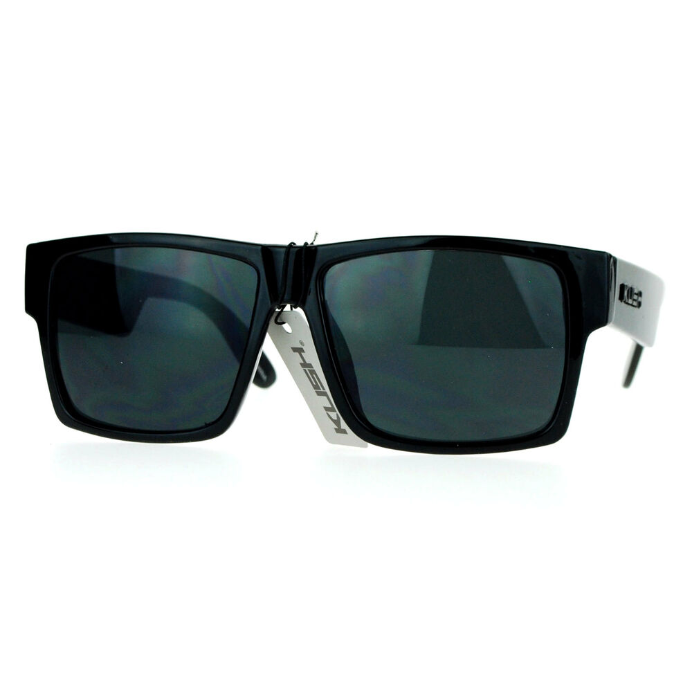 KUSH Sunglasses Square Retangular Black Frame Super Dark ...