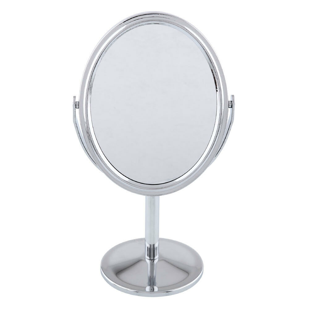 Cosmetic makeup oval double sided normal magnifying for Mirror stand