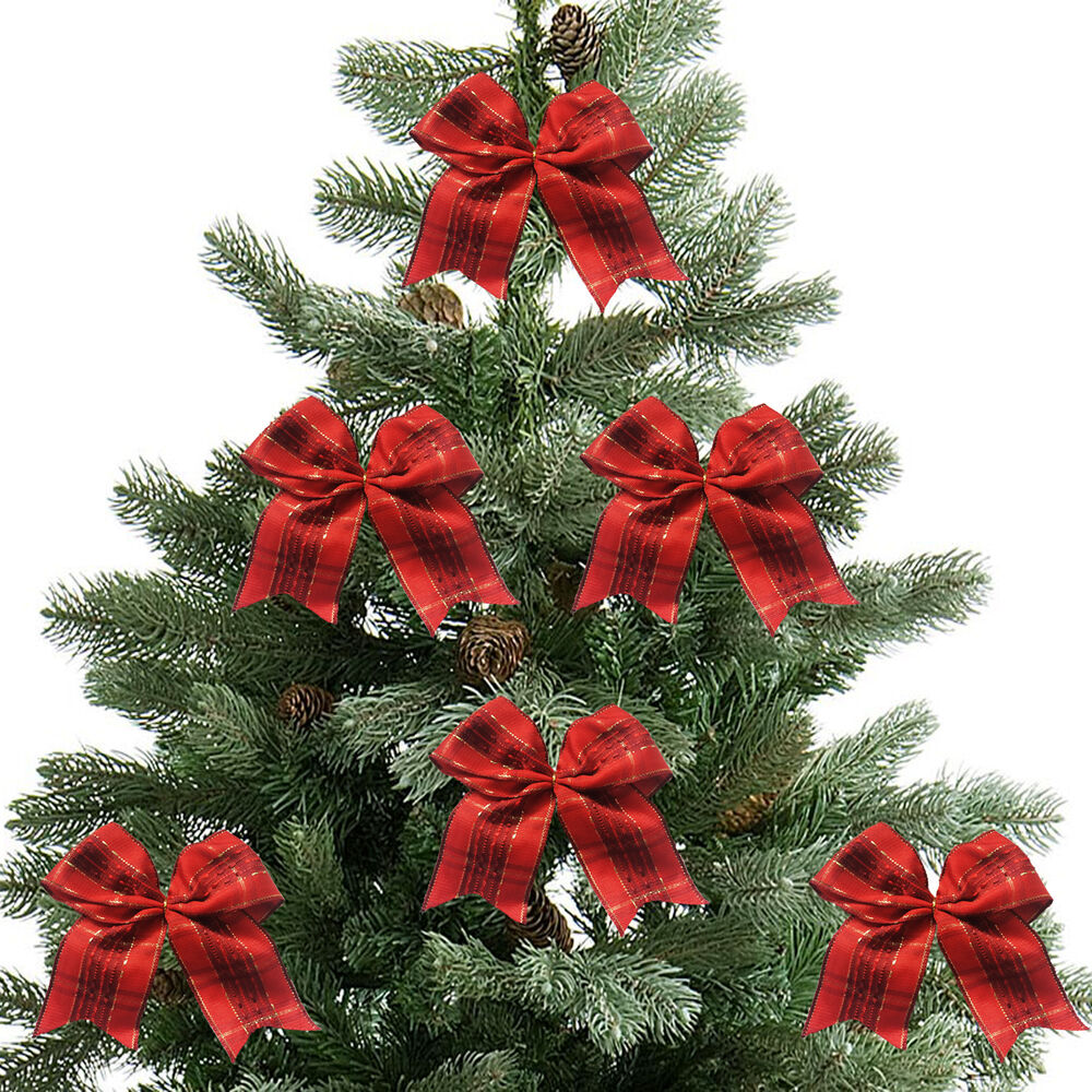 5 X Red And Gold Christmas Tree Bows,bow Decoration,Gift